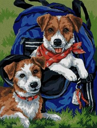 ANI2PER: Gráfico de punto de cruz para descargar en PDF, imprimir y bordar dibujo de dos perritos