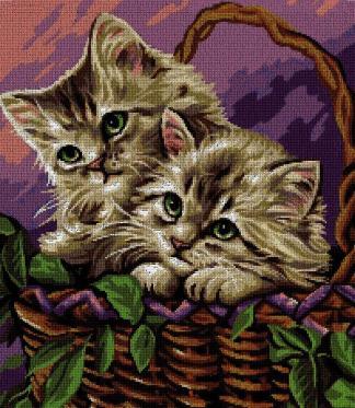 ANICAT-1: Gráfico de punto de cruz para descargar en PDF, imprimir y bordar gatitos en cesta