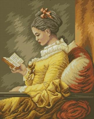 """ARMULEY: bordado a punto de cruz del cuadro de Frangonard """"muchacha leyendo"""""""