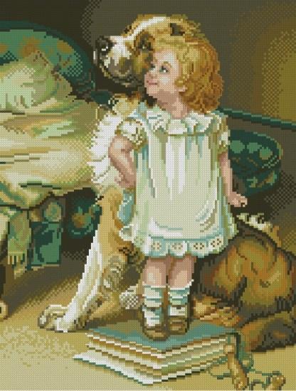 INFNINA-2: bordado a punto de cruz de niña con perro