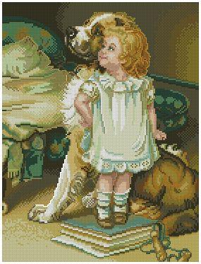 INFNINA-2: Gráfico de punto de cruz para descargar GRATIS al comprar INFNINA-1, imprimir y bordar dibujo infantil de niña con perro