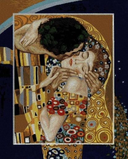 KLIMT-KIS: Gráfico de punto de cruz para descargar en PDF, imprimir y bordar cuadro de Gustav Klimt, el beso