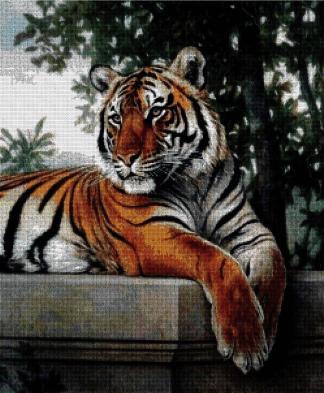 ANITIG-2: Gráfico de punto de cruz para descargar en PDF, imprimir y bordar tigre descansando