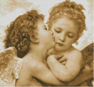 ARKISS: Gráfico de punto de cruz para descargar en PDF, imprimir y bordar dibujo basado en el cuadro de Bouguereau El primer beso
