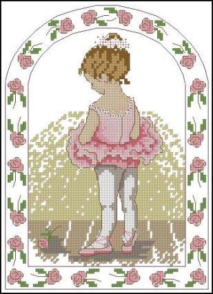 BALLERINA-2: Gráfico de punto de cruz para descargar en PDF, imprimir y bordar niña bailarina vestida de rosa