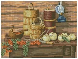 BODEGON-3: Gráfico de punto de cruz para descargar en PDF, imprimir y bordar bodegón con frutos de otoño