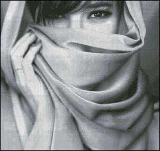 PEREYES-1: bordado a punto de cruz de mujer con la cara tapada y bellos ojos