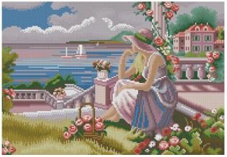 PERMAR-2: Gráfico de punto de cruz para descargar GRATIS al comprar PERMAR, imprimir y bordar escena de mujer mirando el mar