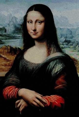 VINCI1089: Gráfico de punto de cruz para descargar en PDF, imprimir y bordar dibujo basado en el cuadro de Leonardo da Vinci La Gioconda ó Mona Lisa