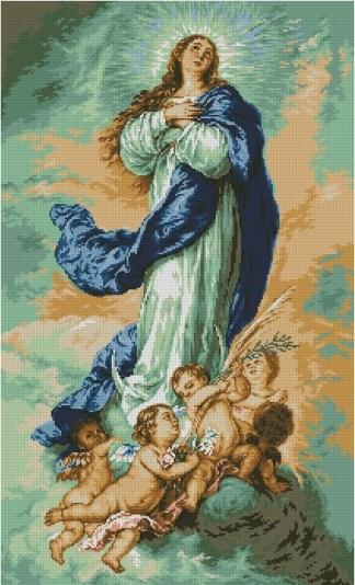 VIRGEN-1: Gráfico de punto de cruz para descargar en PDF, imprimir y bordar la Virgen Inmaculada