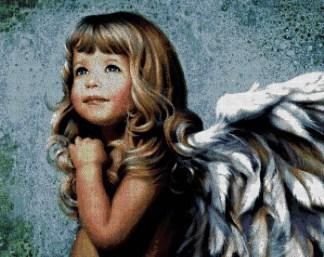 ANGITA: Gráfico de punto de cruz para descargar en PDF, imprimir y bordar ángel niña con pelo rubio