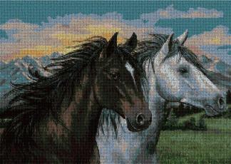 ANI2CAB: Gráfico de punto de cruz para descargar en PDF, imprimir y bordar dibujo de dos caballos
