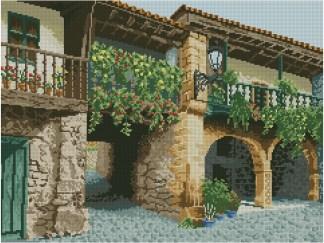 CANTABRIA: Gráfico de punto de cruz para descargar en PDF, imprimir y bordar paisaje típico de Cantabria (España)