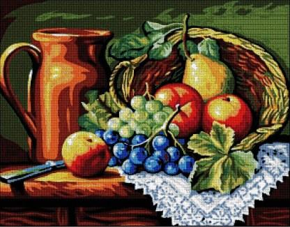 CKBODJA: Gráfico de punto de cruz para descargar en PDF, imprimir y bordar bodegón con jarra y cesta de frutas