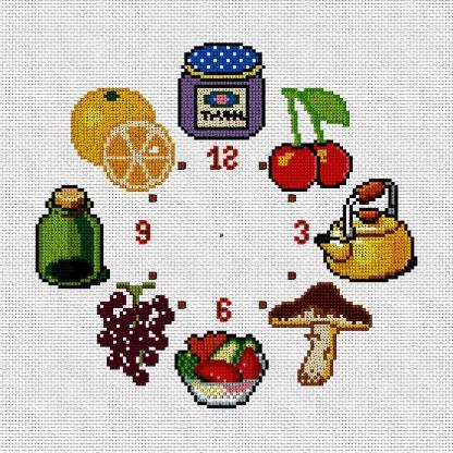 CKRJ-01: Gráfico de punto de cruz para descargar en PDF, imprimir y bordar reloj de cocina