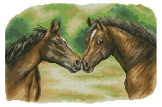 HORSES-1: Gráfico de punto de cruz para descargar GRATIS en PDF al comprar ANI2CAB, imprimir y bordar dibujo de dos caballos