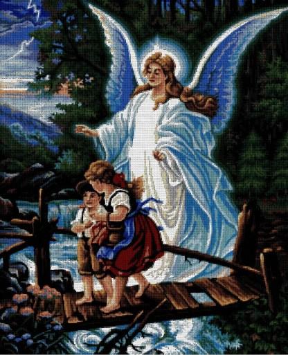 INFANG-2: Gráfico de punto de cruz para descargar en PDF, imprimir y bordar dibujo de niños protegidos por su ángel de la guarda