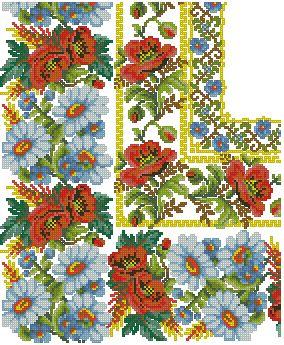 MANTEL-1: Gráficos de punto de cruz para descargar en PDF, imprimir y bordar dibujos de flores en manteles