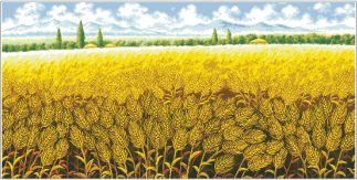 PAJCAMPO-1: Gráfico de punto de cruz para descargar en PDF, imprimir y bordar paisaje rural con campo de trigo
