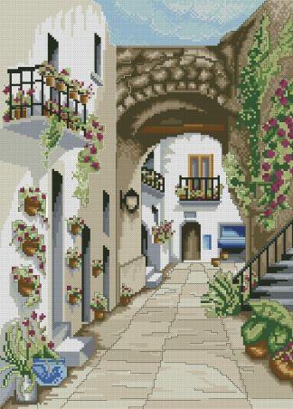 PAJCASA-2: Gráfico de punto de cruz para descargar en PDF, imprimir y bordar dibujo de calle con casas andaluzas