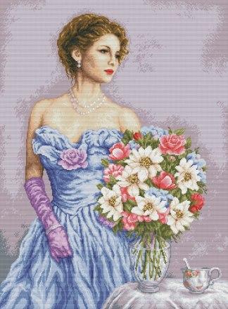 PERWOFL-3: Gráfico de punto de cruz para descargar en PDF, imprimir y bordar mujer con jarrón de flores