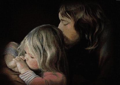 RELIREZ: Gráfico de punto de cruz para descargar en PDF, imprimir y bordar dibujo de niño rezando a Jesús