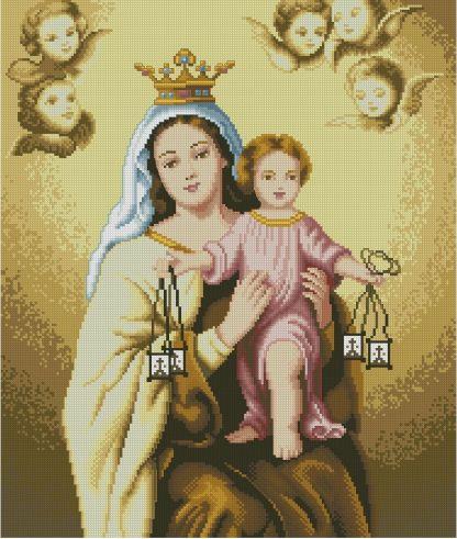 VCARMEN: Gráfico de punto de cruz para descargar GRATIS en PDF con la compra de RELICAR, imprimir y bordar la Virgen del Carmen con el Niño Jesús