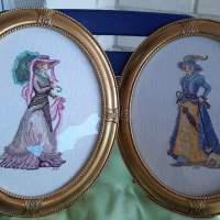 VENTA DE CUADRO BORDADO A PUNTO DE CRUZ con dibujo de pareja de damas