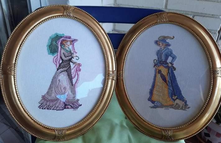 Venta de cuadros bordados a punto de cruz con dibujo de damas o señoritas