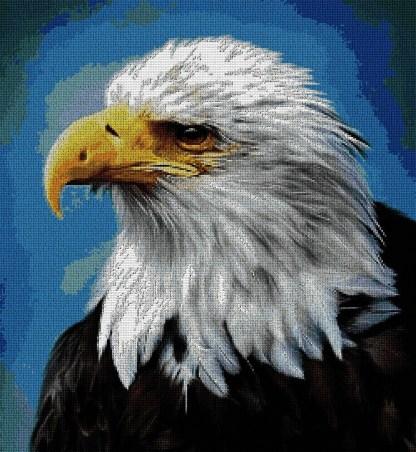 ANICABA: Gráfico de punto de cruz para descargar en PDF, imprimir y bordar la cabeza de un águila