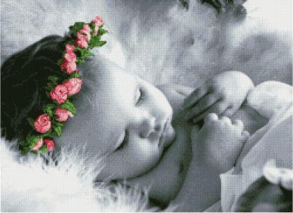 BBSLEEP-1: Gráfico de punto de cruz para descargar en PDF, imprimir y bordar dibujo de bebé dormido con diadema de flores