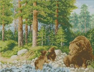 BEARS-1: bordado a punto de cruz de osos en el bosque