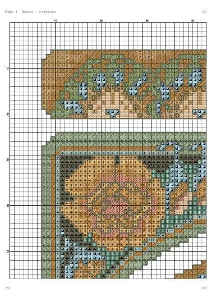 Página del gráfico de punto de cruz MUCHA-2