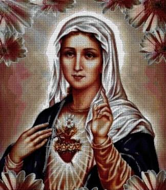 RELICORM: Gráfico de punto de cruz para descargar en PDF, imprimir y bordar imagen del Sagrado Corazón de La Virgen María