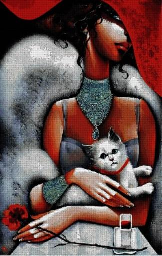 TSANT-2: Gráfico de punto de cruz para descargar en PDF y bordar cuadro de mujer con gato