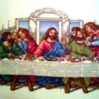 VENTA DE BORDADO A PUNTO DE CRUZ con dibujo de la Ultima Cena de Jesús