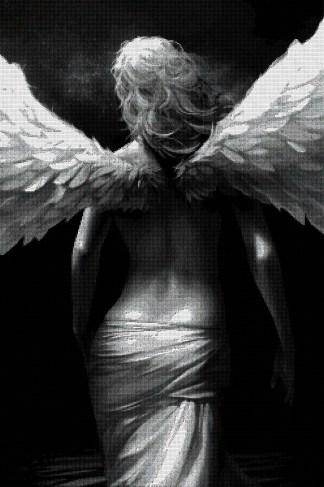 ANGESP-1: Gráfico de punto de cruz para descargar en PDF, imprimir y bordar mujer ángel de espaldas