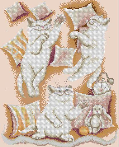 CATS-2: Gráfico de punto de cruz para descargar en PDF, imprimir y bordar dibujo de gatos blancos entre cojines