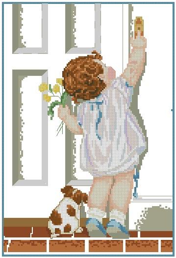 INFNINA-4: Gráfico de punto de cruz para descargar en PDF, imprimir y bordar dibujo infantil de niña tocando el timbre y perrito