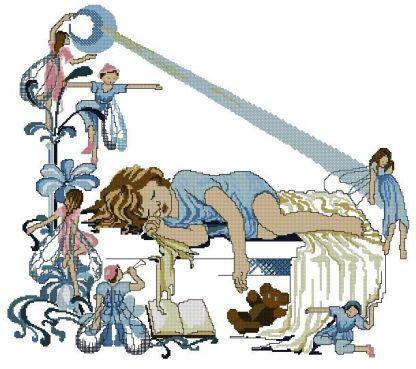 FAIRIES-1: Gráfico de punto de cruz para descargar en PDF, imprimir y bordar dibujo infantil de niña soñando con hadas