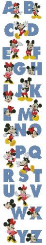 INFABC-1: Gráfico de punto de cruz para descargar en PDF, imprimir y bordar abecedario Mickey y Minnie Mouse
