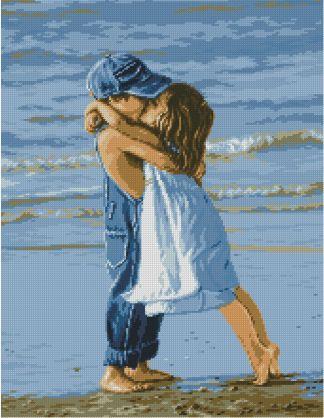 INFBEACH-1: Gráfico de punto de cruz para descargar en PDF, imprimir y bordar dibujo de dos niños besándose en la playa