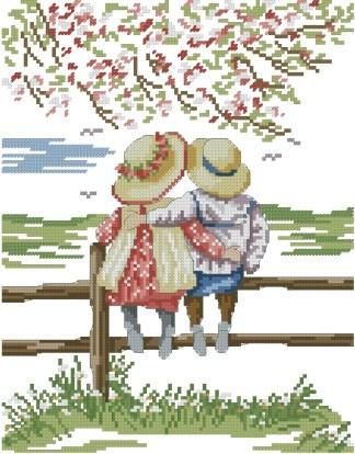 INFENCE: Gráfico de punto de cruz para descargar en PDF, imprimir y bordar dibujo infantil con niños sentados sobre valla