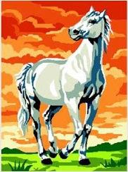 LIPIZANO-6670: Tela panamá con dibujo impreso de caballo lipizano para bordar a punto de cruz