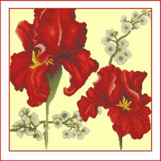 LIRIOS-1: Gráfico de punto de cruz para descargar en PDF, imprimir y bordar dibujo floral con lirios rojos