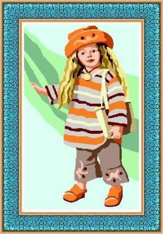 LISA: Tela panamá con dibujo impreso de muñeca Lisa con gorrito, para bordar a punto de cruz