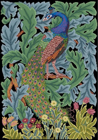 """PEACOCK-4: Gráfico de punto de cruz para descargar en PDF, imprimir y bordar dibujo con pavo real, basado en el tapiz de William Morris """"The forest"""""""