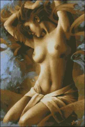 PERNUDE-1: Gráfico de punto de cruz para descargar en PDF, imprimir y bordar dibujo de mujer con el torso desnudo