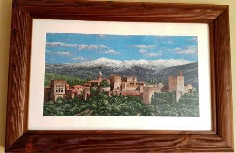 VENTA DE BORDADO A PUNTO DE CRUZ con paisaje de la Alhambra de Granada