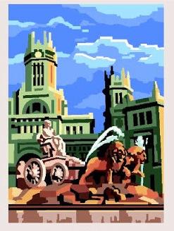 CIBELES-6622: Tela panamá con dibujo impreso de La Cibeles de Madrid, para bordar a punto de cruz